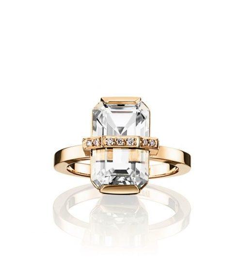 Little Bend Over Ring – Crystal Quartz, Guld