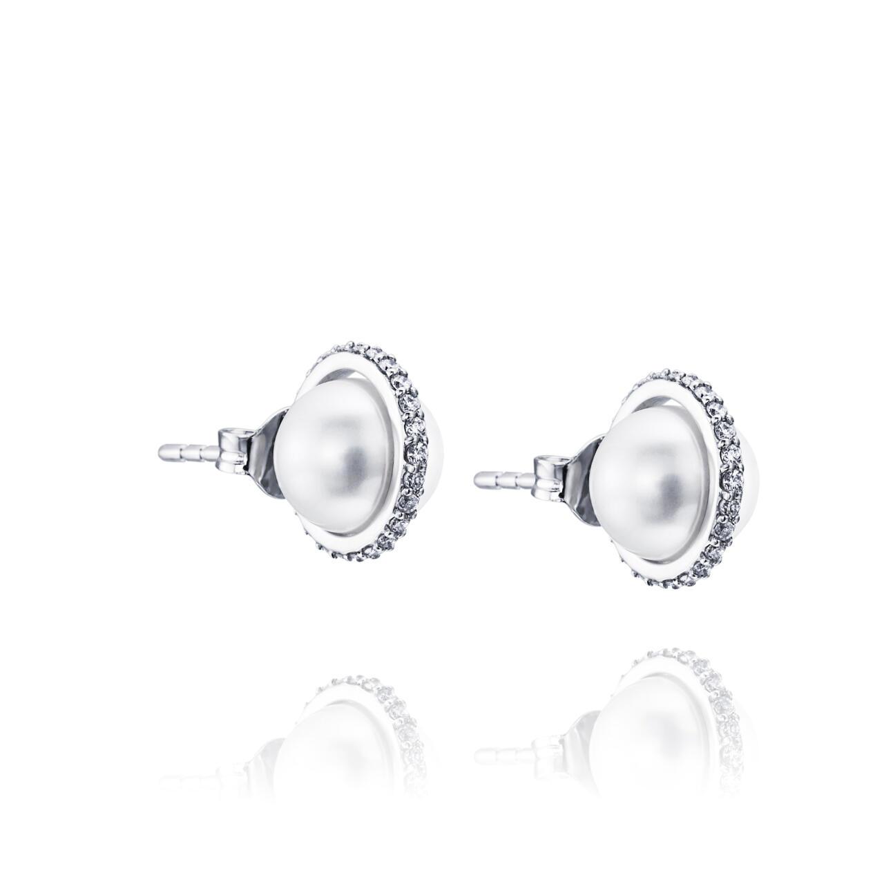 Day Pearl & Stars Ear – Vitt guld