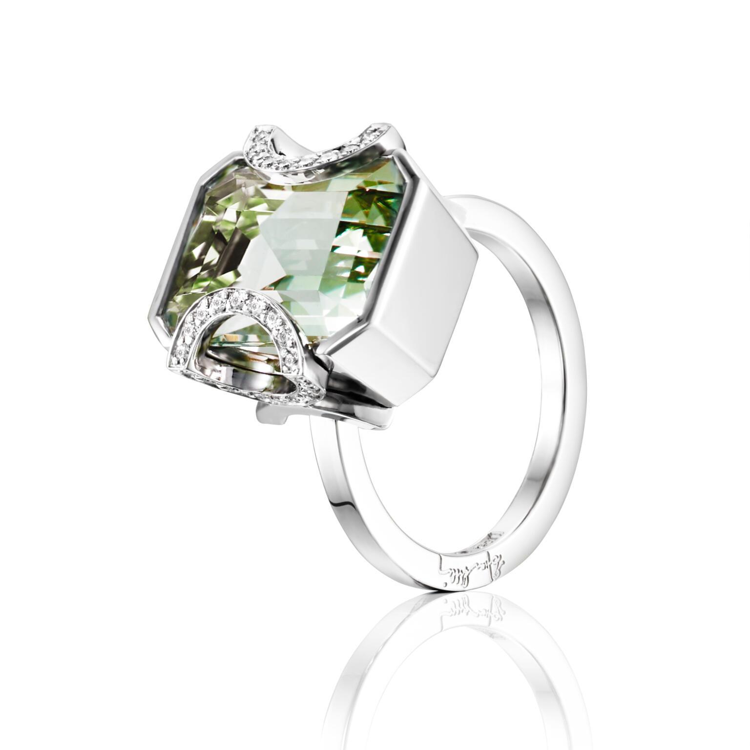Little Magic Star Ring – Green Quartz, Vitt guld