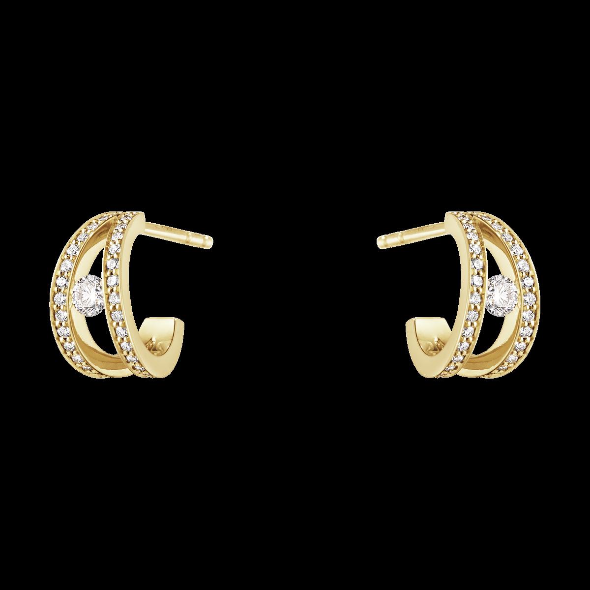 Halo Örhängen – 18 Karat  Rött Guld med Briljanter
