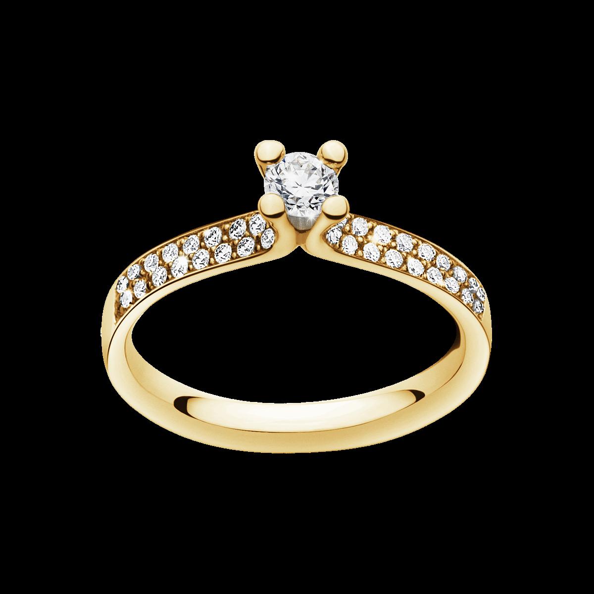 Magic Solitaire Ring med Sidostenar – 18 Karat Rött Guld med Briljanter