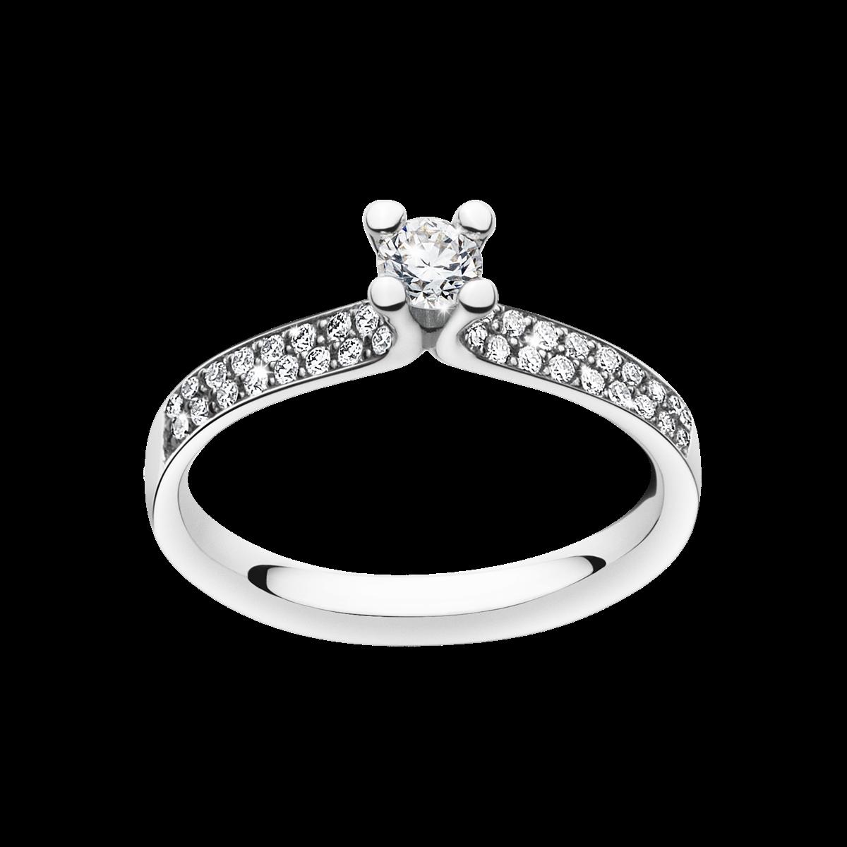 Magic Ring – Solitaire 0,40 Carat i Platina med Sidostenar