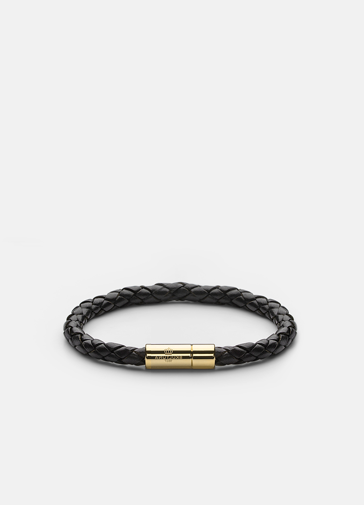 Leather Bracelet Gold-Black