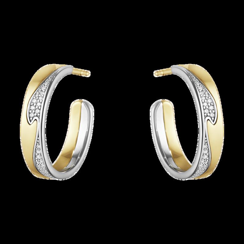 FUSION örhängen – 18 kt. gult guld, vitt guld med pavéinfattad diamanter, 0,21 ct