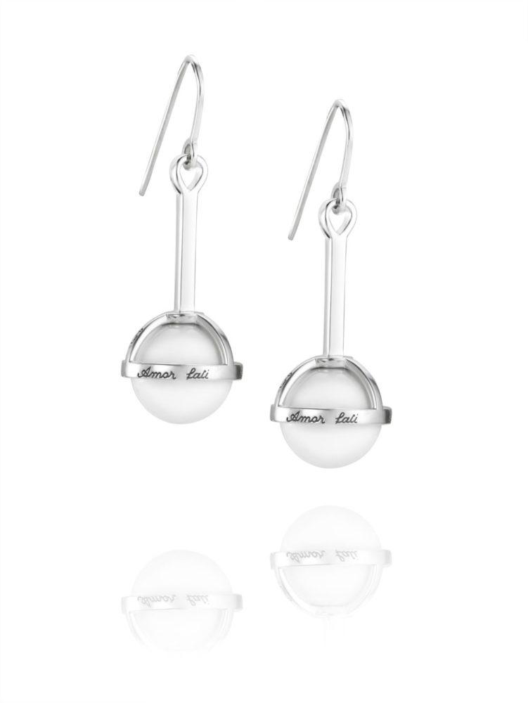 Amor Fati Globe Earrings White Agate