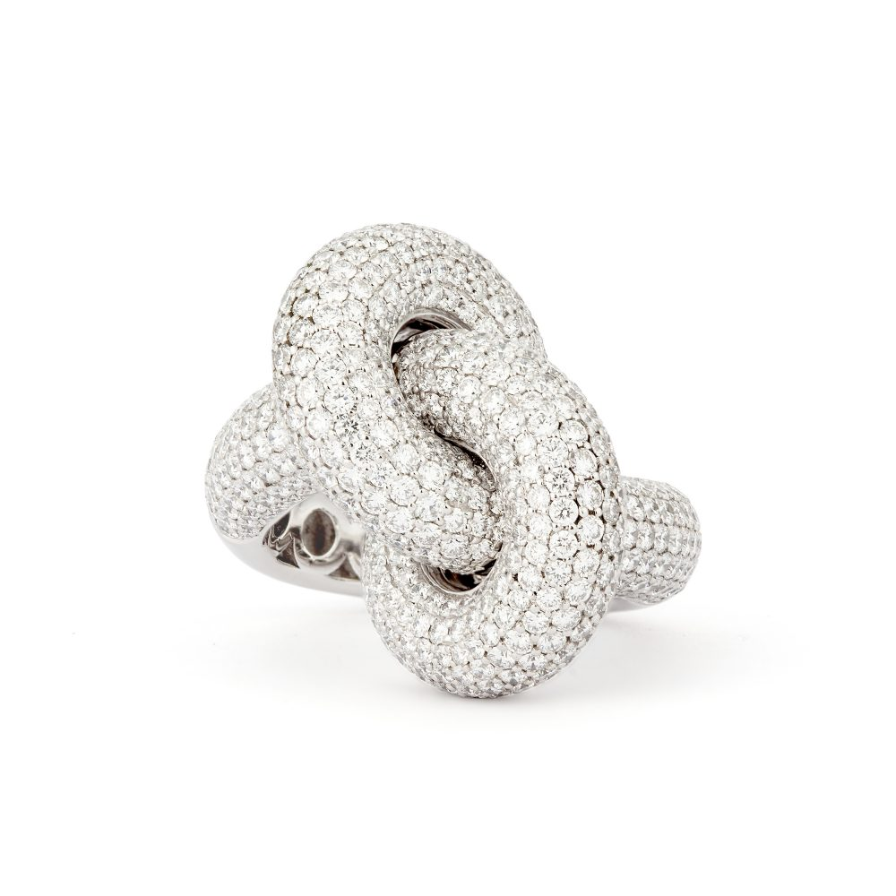Absolutely Fat Knot Vitguld Pavé