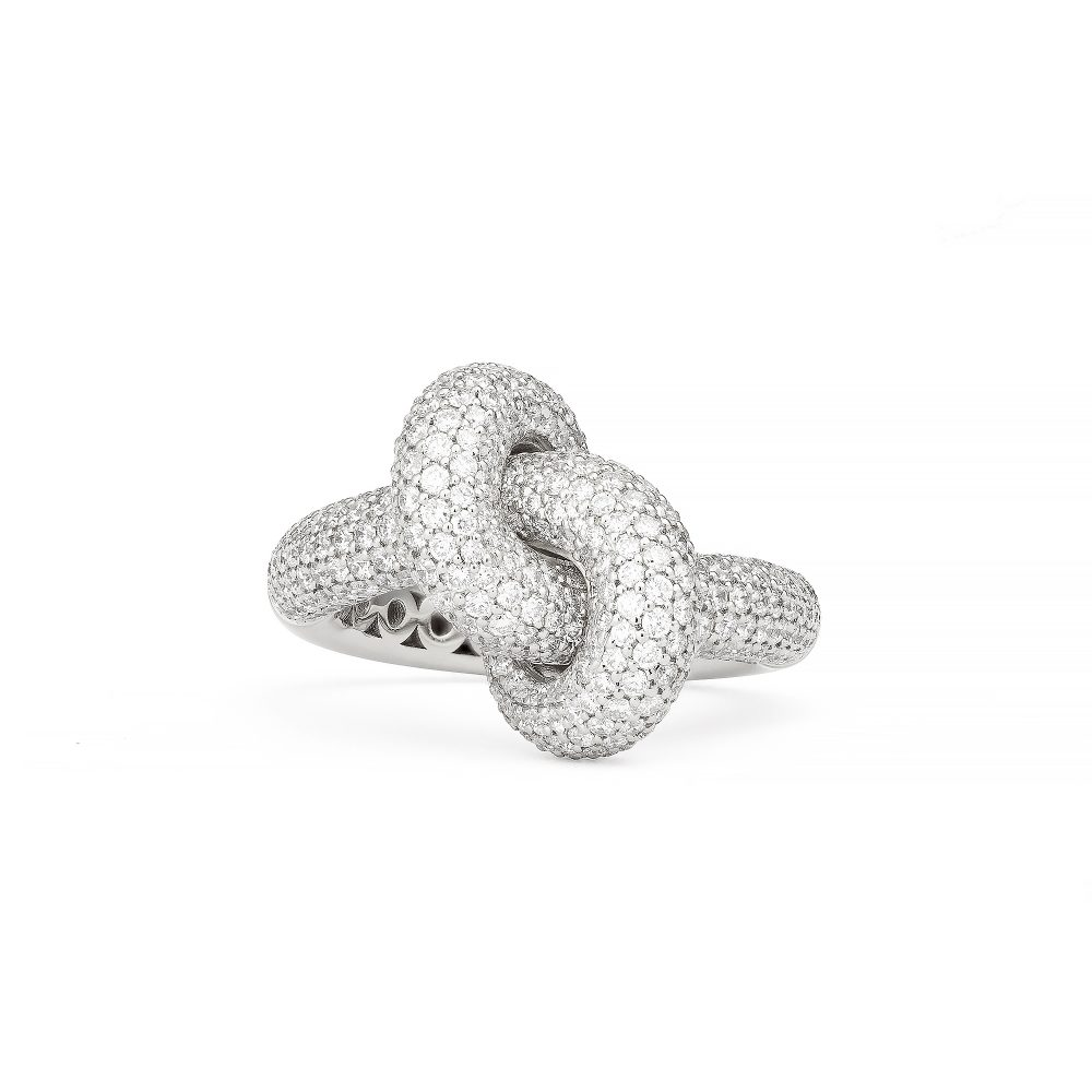 Absolutely Loose Knot Vitguld Pavé