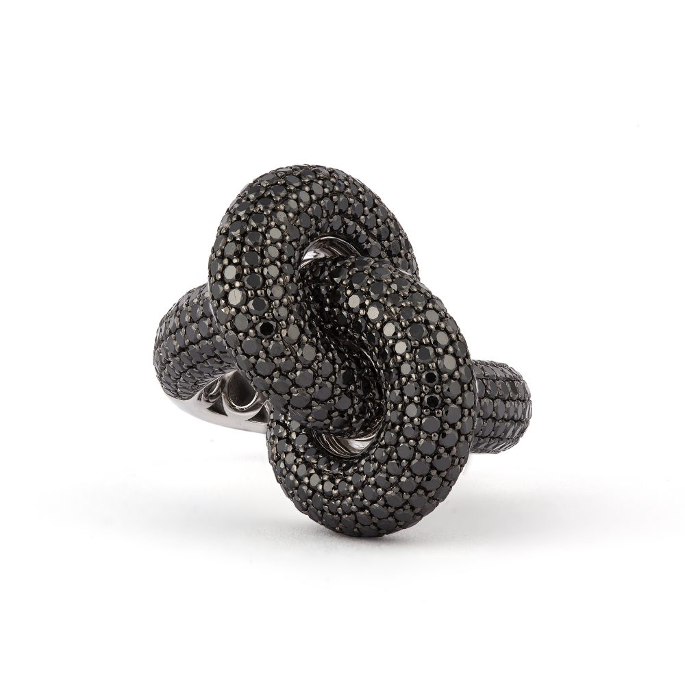 Absolutely Fat Knot Vitguld Svarta Diamanter