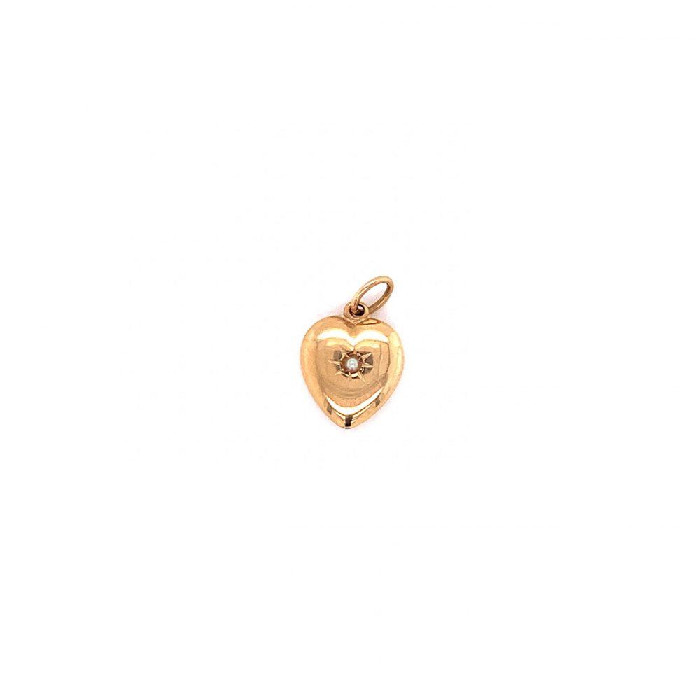 Guldhjärta Med Pärla 18k