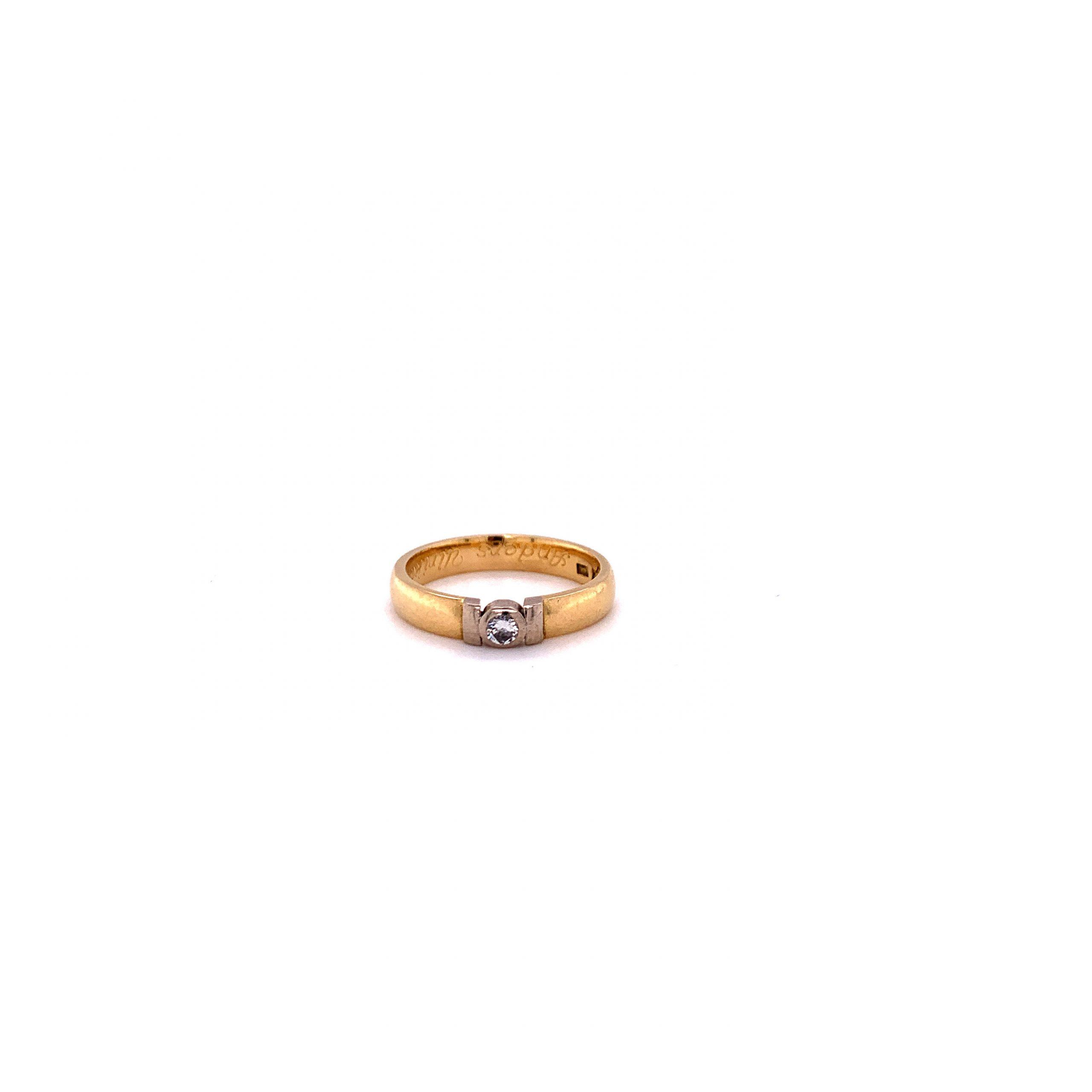 18k rg/vg ring med diamant