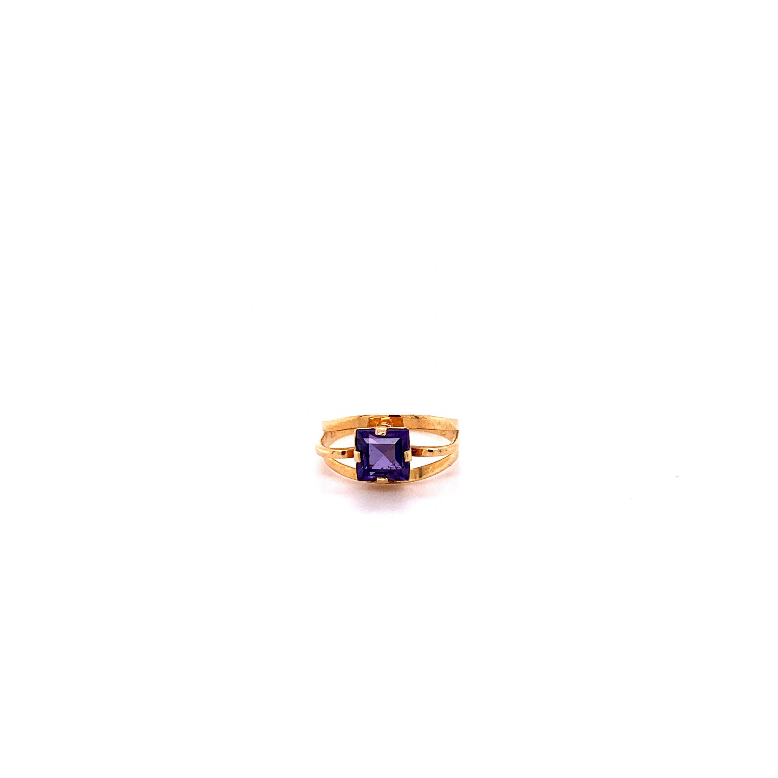 18k Ring med lila sten
